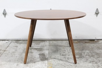 Table, Dining, MODERN,WALNUT,ROUND TOP,ANGLED TAPERED LEGS, SEATS 4, WOOD, BROWN
