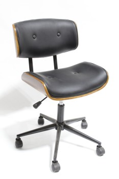 Chair, Office, MID CENTURY MODERN STYLE, MOLDED WOOD W/BLACK BUTTON TUFTED SEAT & BACK, ADJUSTABLE, ROLLING, LEATHER, BLACK