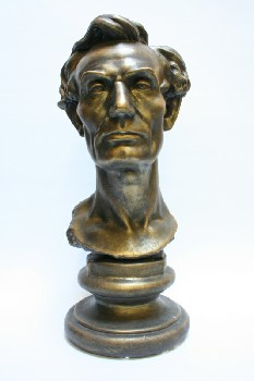 Statuary, Bust, ABRAHAM LINCOLN ON ROUND BASE, PLASTER, BRONZE