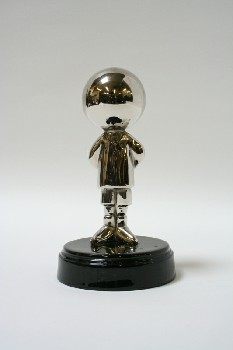 Decorative, Figurine, MAN W/BALL HEAD ON ROUND BLACK BASE, METAL, SILVER