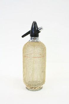 Bar, Bottle, SELTZER BOTTLE W/WEAVE PATTERN,BLK TOP, GLASS, GOLD