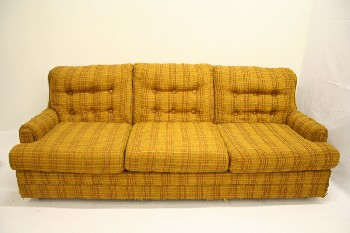 Sofa, Three Seat, PLAID,BUTTON TUFTED BACK,TEXTURED UPHOLSTERY, ROLL ARM, FABRIC, YELLOW