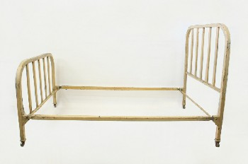 Bed, Metal, ROUNDED FRAME W/BARS,DISTRESSED, ROLLING, HEADBOARD & 34