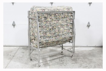 "Bed, Cot, COT,FOLDING,MATTRESS W/SHAPES PRINT, MEASURES 20x72.5x36"" FOLDED OUT , METAL, GREY"