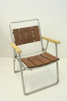 Chair, Folding, OUTDOOR/LAWN,WOODEN SLAT SEAT,YELLOW ARMS,TUBULAR FRAME  , ALUMINUM, SILVER