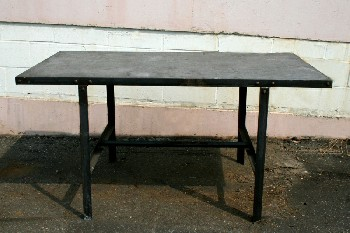 Table, Work, INDUSTRIAL,RECTANGULAR TOP W/LOWER SUPPORT BAR, AGED, METAL, BLACK