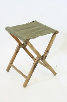 Stool, Folding, CAMPING/OUTDOOR,FRAYED CANVAS SEAT, WOOD, BROWN