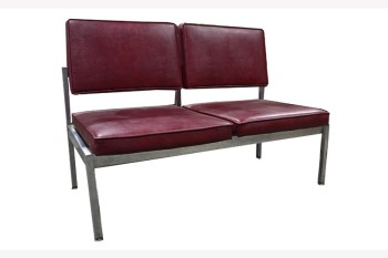 Bench, Seats, TWO SEATS,PART OF WAITING AREA SET (MATCHING CHAIR & 3-SEATER AVAILABLE W/CONNECTOR PCS), NO ARMS, CHROME FRAME, VINYL, BURGUNDY