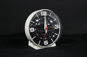 Clock, Desktop, BLACK FACE,WHITE NUMBERS,ROUND W/CLEAR FRONT, RETRO LOOK , PLASTIC, CREAM