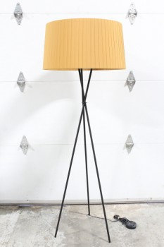 Lighting, Floor Lamp, MODERN, FREESTANDING W/PLEATED/RIBBONED SHADE IN MUSTARD, BLACK TRIPOD LEGS - *Shade Is Included & Specific To This Lamp.*, METAL, BLACK