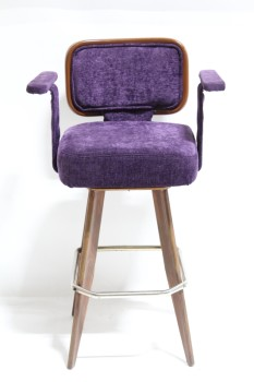 Stool, Backrest, SQUARE SEAT W/ARMS & WOOD FRAMED BACK, FLARED WOOD LEGS W/METAL FOOT REST, MANUFACTURED 1995, FABRIC, PURPLE