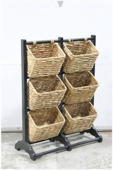 Stand, Miscellaneous, 6 BASKETS,FREESTANDING ON BLACK WOOD FRAME, MARKET/FRUIT/DISPLAY RACK, WOOD, BLACK