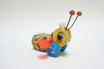 Toy, Animal, BEE W/BLUE WHEELS,BOBBLE ANTENNAS, WOOD, MULTI-COLORED