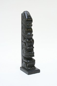 Decorative, Totem, NATIVE,TOTEM POLE,TOP OFF, RESIN, BLACK