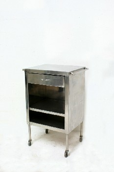 Table, Bedside, HOSPITAL BEDSIDE,1 DRAWER,2 LOWER SHELVES, ROLLING, STAINLESS STEEL, SILVER