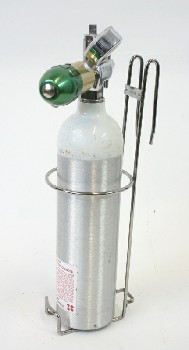 Medical, Supplies, HOOKED WALLMOUNT HOLDER FOR OXYGEN TANK (INCLUDES TANK), METAL, SILVER