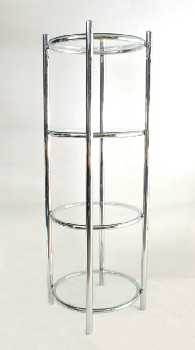 Shelf, Glass, CYLINDRICAL W/4 SHELVES (*NOT ATTACHED*),TUBULAR FRAME, CHROME, SILVER