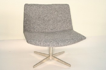Chair, Client, MODERN,SWIVEL CHROME BASE, FABRIC, GREY