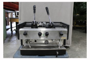 Restaurant, Appliance, ESPRESSO MACHINE/COFFEFEMAKER,2 PULLDOWN HANDLES, STEAM WAND,W/2 PORTAFILTERS, STAINLESS STEEL, SILVER
