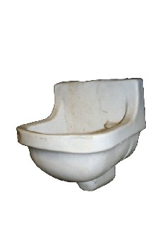Plumbing, Sink, LIGHTWEIGHT (FAKE),INSTITUTIONAL,WALLMOUNT, AGED, PLASTIC, OFFWHITE