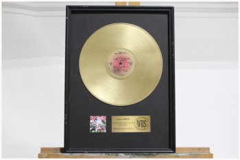 Wall Dec, Award, CLEARABLE,RECORDING INDUSTRY GOLD RECORD ALBUM, BRUSHED GOLD PLAQUE, VINYL, GOLD