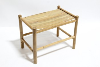 Stool, Square, BAMBOO SLAT SEAT,LOWER SUPPORT BARS, CONTEMPORARY, BAMBOO, NATURAL