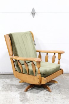 Chair, Rocking, MAPLE ARMS & FRAME,SWIVEL ROCKER, GREEN AGED CUSHION, WOOD, BROWN