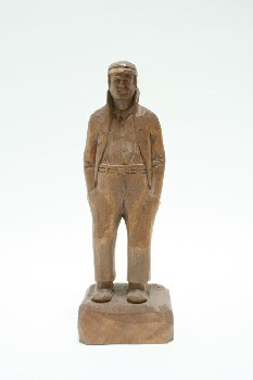 Decorative, Figurine, CARVED MAN W/HANDS IN PANT POCKETS,W/CAP & MOUSTACHE, WOOD, BROWN