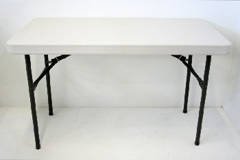 Table, Folding, ROUNDED EDGE PLASTIC TOP W/BLK METAL LEGS, PLASTIC, WHITE