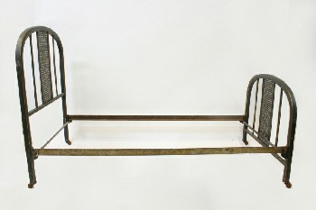 Bed, Metal, SINGLE SIZE W/ROUNDED FRAME W/CANED CENTRE, ROLLING, HEADBOARD & 33