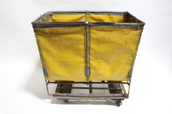 Laundry, Hamper, INDUSTRIAL HAMPER W/WOOD & METAL FRAME, ROLLING, AGED/DISTRESSED , VINYL, YELLOW