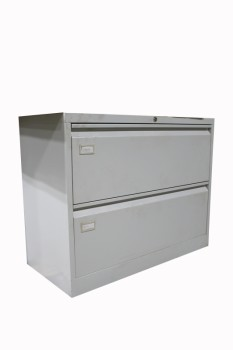 Cabinet, Filing, LIGHT COLOUR,PLAIN, OFFICE LATERAL FILES W/2 DRAWERS, METAL, GREY