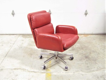 Chair, Office, VINTAGE, ROLLING, SILVER COLOURED BASE, SWIVELS, SLIGHTLY WORN/AGED, LEATHER, RED