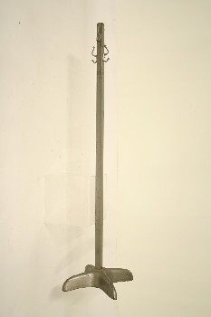Coat Rack, Leg Base, 4 LEGS,SOLID,SQUARE POST,4 HOOKS, METAL, GREY