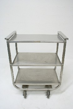 Cart, Metal, 3 LEVEL,FRAME CURVED AT BOTTOM,ROLLING , STAINLESS STEEL, SILVER