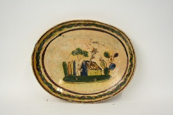Housewares, Plate, OVAL PLATTER,MEXICAN W/PAINTED HOUSE & CACTUS, POTTERY, MULTI-COLORED