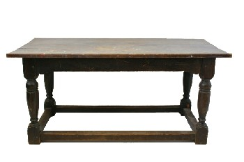 Table, Rustic, FIR,THICK TURNED LEGS W/STRETCHERS, RUSTIC , WOOD, BROWN