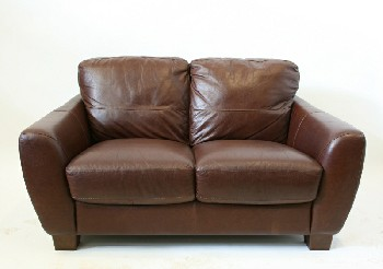 Sofa, Loveseat, FLARED ARMS,STITCHED PANELS, FOOTED (BROWN PLASTIC), LEATHER, BROWN