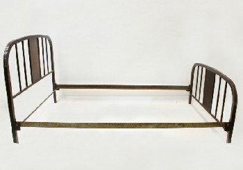 Bed, Metal, SINGLE SIZE W/ROUNDED FRAME W/FAUX WOOD CENTRE & BARS, HEADBOARD & 26