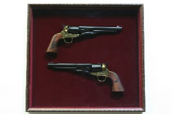 Wall Dec, Shadow Box, SET OF 2 1880'S COLT REPLICA PISTOLS/GUNS,RED BACKING, WOOD, BURGUNDY