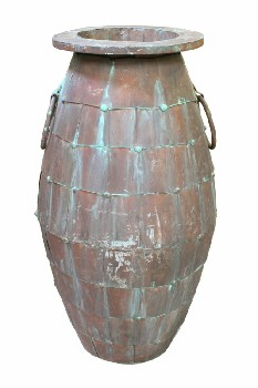 Vase, Floor, RIVETED VERDI GRIS CONTAINER W/STUDS & SIDE RINGS,OPEN TOP, AGED , METAL, RUST