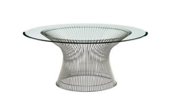 Table, Coffee Table, MODERN, WIRE BASE, CHROME FINISH, ROUND GLASS TOP, GLASS, CLEAR