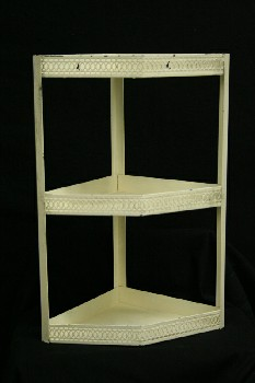 Shelf, Wallmount, 3 LEVEL CORNER,CUT OUT EDGING, METAL, WHITE