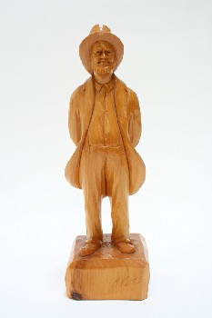 Decorative, Figurine, CARVED MAN W/HANDS BEHIND BACK, HAT & JACKET & BEARD, WOOD, BROWN