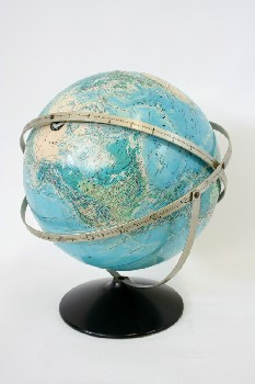 Globe, Tabletop, WORLD,BLUE/GREEN ON ROUND METAL BLACK STAND W/3 RINGS, METAL, MULTI-COLORED