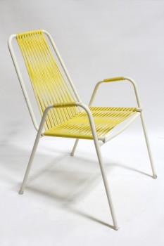 Chair, Lawn, VINTAGE OUTDOOR/LAWN,WHITE METAL TUBULAR FRAME, YELLOW STRINGS, PLASTIC, YELLOW