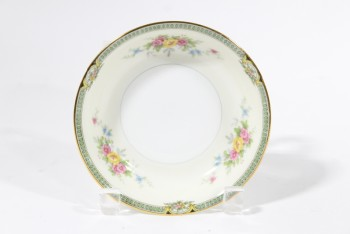 Housewares, Plate, SAUCER,FLORAL PATTERN, GOLD TRIM , CHINA, GOLD