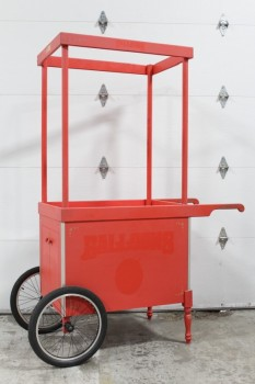 Cart, Vending , MOVIEMADE,WOOD FRAME CONSTRUCTION, 2 HANDLES & 2 RUBBER WHEELS, TURNED LEGS, WOOD, RED