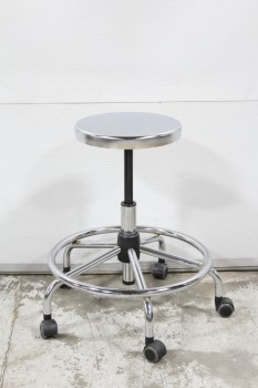 Stool, Stainless, ROUND SEAT, LOWER RING, ROLLING, 5 WHEELS, STAINLESS STEEL, SILVER