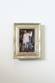 Art, Photo, MAN HOLDING DUST PANS & BROOM,SILVER TABLETOP FRAME, PLASTIC, MULTI-COLORED